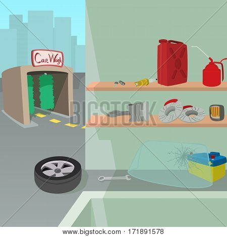 Car repair service concept set. Cartoon illustration of car repair service vector concept for web