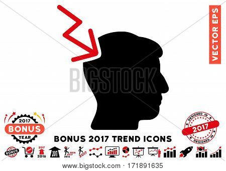 Intensive Red And Black Head Electric Strike pictogram with bonus 2017 trend pictograms. Vector illustration style is flat iconic bicolor symbols white background.