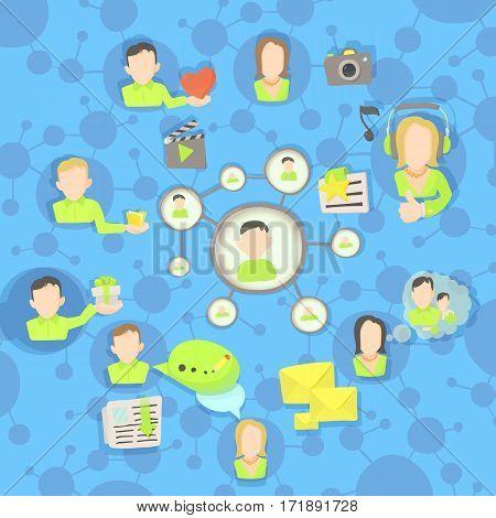 Social network circles concept set. Cartoon illustration of Social network circles vector concept for web
