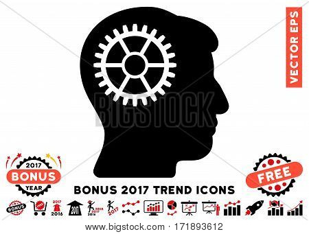 Intensive Red And Black Intellect Cog pictogram with bonus 2017 trend symbols. Vector illustration style is flat iconic bicolor symbols white background.