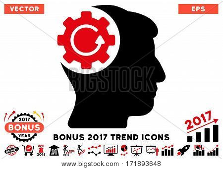 Intensive Red And Black Intellect Gear Rotation pictogram with bonus 2017 trend icon set. Vector illustration style is flat iconic bicolor symbols white background.