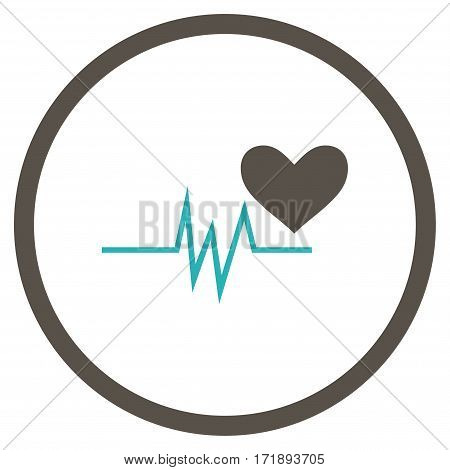 Heart Pulse Signal rounded icon. Vector illustration style is flat iconic bicolor symbol inside circle grey and cyan colors white background.