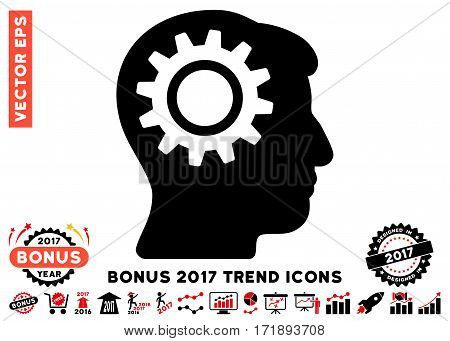 Intensive Red And Black Intellect Gear pictograph with bonus 2017 year trend clip art. Vector illustration style is flat iconic bicolor symbols white background.