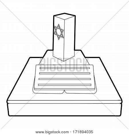 Jevish grave icon. Outline illustration of jevish grave vector icon for web