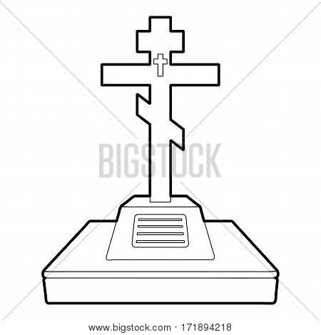 Christian grave icon. Outline illustration of christian grave vector icon for web