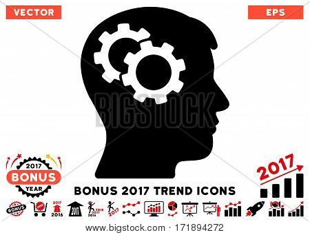 Intensive Red And Black Intellect Gears pictogram with bonus 2017 year trend elements. Vector illustration style is flat iconic bicolor symbols white background.