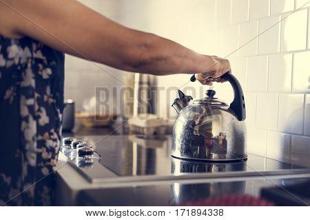 Senior Woman Cooking Food Kitchen