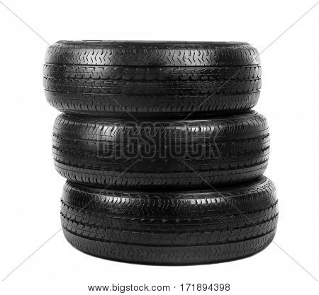 Car wheels on white background