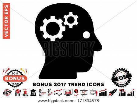 Intensive Red And Black Intellect Gears icon with bonus 2017 year trend icon set. Vector illustration style is flat iconic bicolor symbols white background.