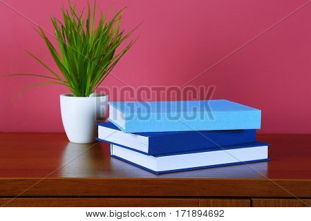 Pile of books and plant on wooden table against pink background