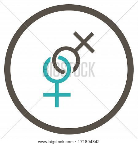Lesbian Love Symbol rounded icon. Vector illustration style is flat iconic bicolor symbol inside circle grey and cyan colors white background.
