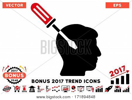 Intensive Red And Black Intellect Screwdriver Tuning pictogram with bonus 2017 trend design elements. Vector illustration style is flat iconic bicolor symbols white background.