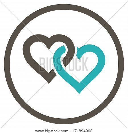 Linked Hearts rounded icon. Vector illustration style is flat iconic bicolor symbol inside circle grey and cyan colors white background.