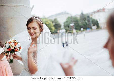 portrait of a beautiful girl in wedding day.