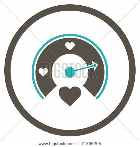 Love Gauge rounded icon. Vector illustration style is flat iconic bicolor symbol inside circle grey and cyan colors white background.