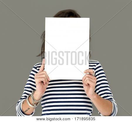 Woman Hold Blank Paper Board Copy Space