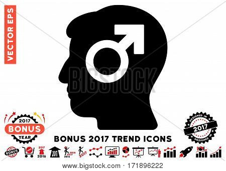 Intensive Red And Black Mind Potency pictograph with bonus 2017 trend icon set. Vector illustration style is flat iconic bicolor symbols white background.