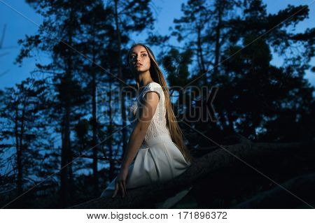 Beautiful Blonde Girl Sitting on Old Tree Branch in Mystical Fairy Night forest. She Looked Back.