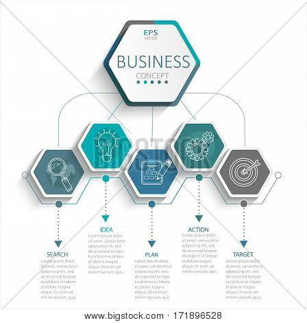 Vector illustration infographic template with 3D hexagons paper label business template for presentation. Creative concept for infographic diagram flowchart workflow layout content steps chart.