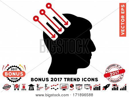 Intensive Red And Black Neuro Interface icon with bonus 2017 year trend design elements. Vector illustration style is flat iconic bicolor symbols white background.