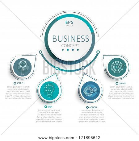 Vector illustration infographic template with 3D circles paper label business template for presentation. Creative concept for infographic diagram flowchart workflow layout content steps chart.