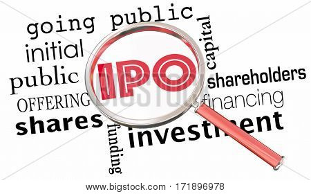 IPO Initial Public Offering Stock Sale Magnifying Glass 3d Illustration