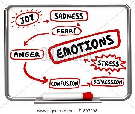 Emotions Different Feelings Diagram Words 3d Illustration