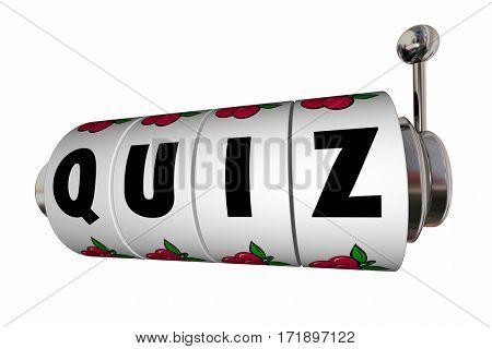 Quiz Test Exam Trivia Slot Machine Reels 3d Illustration