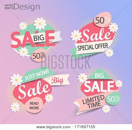 Sale - set of fashion color modern labels with halftone background and flowers. Sale and discounts. Vector illustration.