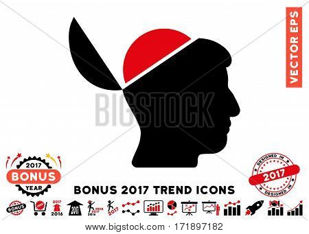Intensive Red And Black Open Brain pictogram with bonus 2017 year trend icon set. Vector illustration style is flat iconic bicolor symbols white background.