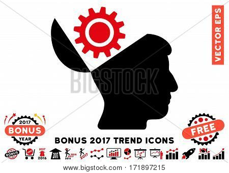 Intensive Red And Black Open Head Gear pictogram with bonus 2017 trend pictograph collection. Vector illustration style is flat iconic bicolor symbols white background.