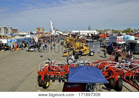 WEST FARGO, NORTH DAKOTA, September 13, 2016.New farm machinery, tractors, and technology is displayed at the Big Iron Farm Show held annually at the Red River Fairgrounds each September where thousands of farmers attend.