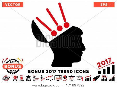 Intensive Red And Black Open Mind Interface pictograph with bonus 2017 trend clip art. Vector illustration style is flat iconic bicolor symbols white background.