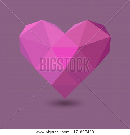 low poly pink polygonal heart with shadow