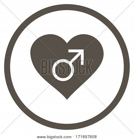 Male Love Heart rounded icon. Vector illustration style is flat iconic bicolor symbol inside circle grey and cyan colors white background.