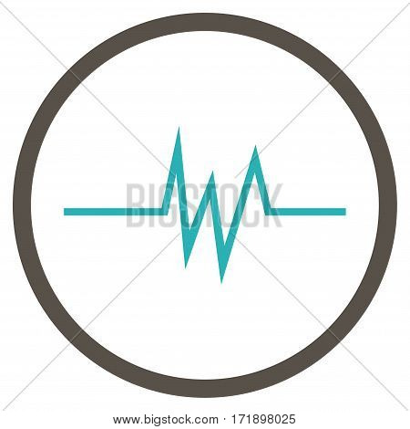 Pulse Signal rounded icon. Vector illustration style is flat iconic bicolor symbol inside circle grey and cyan colors white background.