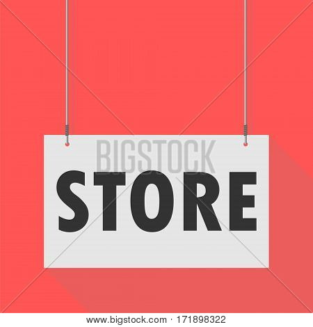 Simple Hanging Sign store on red background