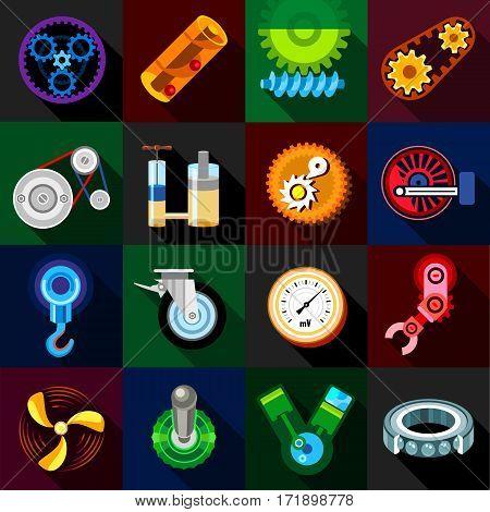Technical mechanisms icons set. Flat illustration of 16 technical mechanisms vector icons for web