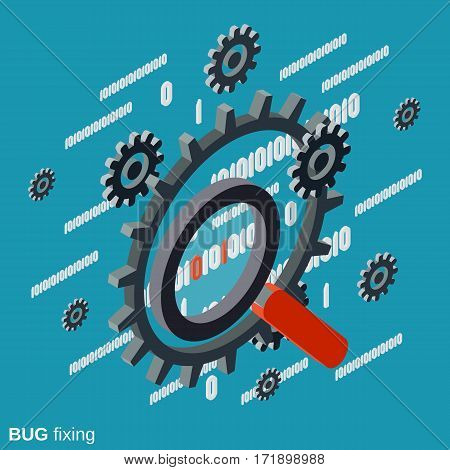 Bug fixing, error search, data recovery flat isometric vector concept