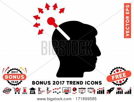 Intensive Red And Black Optical Neural Interface icon with bonus 2017 trend pictograms. Vector illustration style is flat iconic bicolor symbols white background.