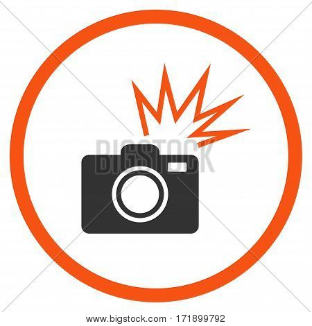 Camera Flash rounded icon. Vector illustration style is flat iconic bicolor symbol inside circle orange and gray colors white background.