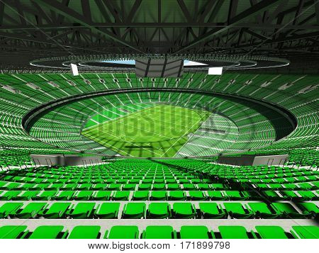 3D Render Of A Round Rugby Stadium With  Green Seats And Vip Boxes