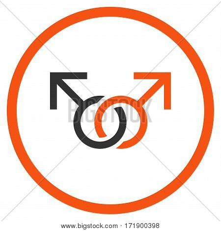 Gay Love Symbol rounded icon. Vector illustration style is flat iconic bicolor symbol inside circle orange and gray colors white background.