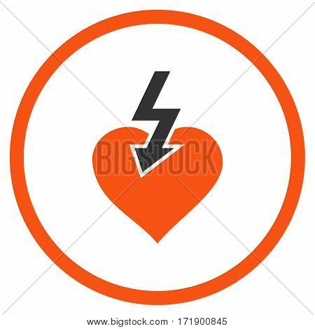 Heart Shock Strike rounded icon. Vector illustration style is flat iconic bicolor symbol inside circle orange and gray colors white background.