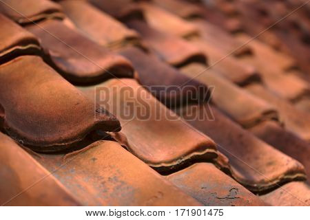 Sun beams on roof tiles, shallow depth of field outdoor shoot background image