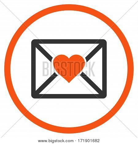 Love Letter rounded icon. Vector illustration style is flat iconic bicolor symbol inside circle orange and gray colors white background.