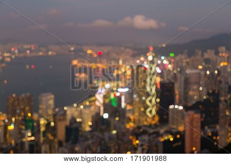 Night blurred lights Hong Kong central business downtown abstract background