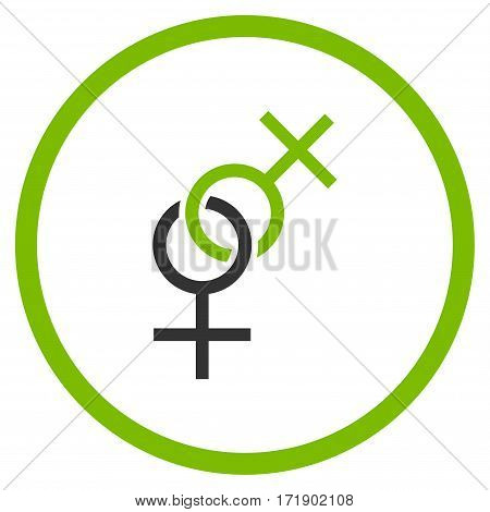 Lesbian Love Symbol rounded icon. Vector illustration style is flat iconic bicolor symbol inside circle eco green and gray colors white background.