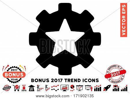 Intensive Red And Black Star Favorites Options Gear icon with bonus 2017 year trend clip art. Vector illustration style is flat iconic bicolor symbols white background.