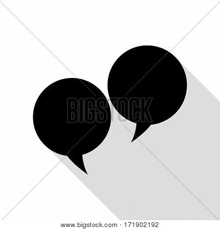 Speech bubble sign. Black icon with flat style shadow path.